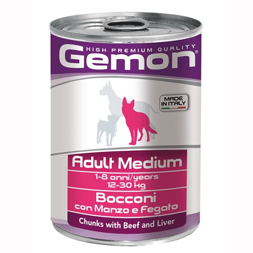 Gemon Dog z govedino in jetri za odrasle pse srednje velikosti