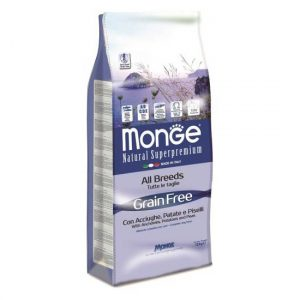 Monge Grain Free inčun s krompirjem za odrasle pse in alergike