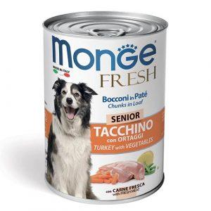 Monge Fresh Pate s koščki purana in zelenjavo za starejše pse