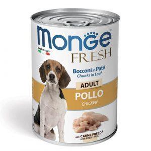 Monge Fresh Pate s koščki piščanca za odrasle pse 400g