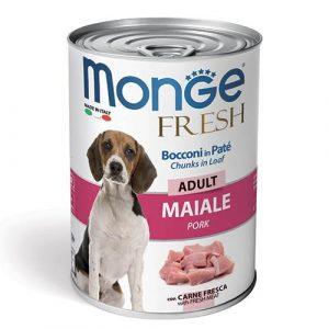 Monge Fresh Pate s koščki svinjine za odrasle pse