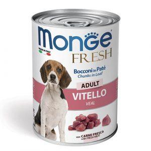 Monge Fresh Pate s koščki teletine za odrasle pse