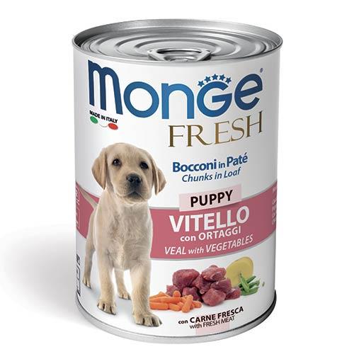 Monge Fresh pate koščki s teletino in zelenjavo za pasje mladiče
