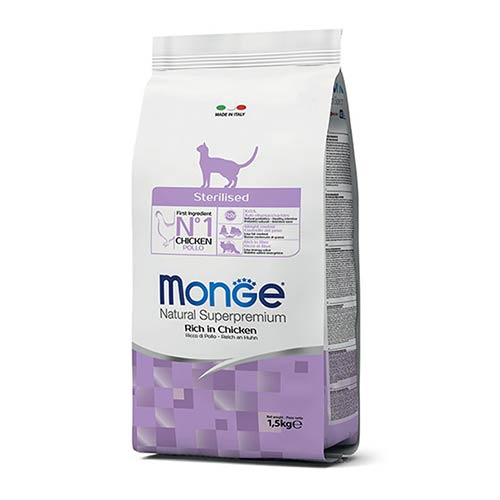 Monge hrana s piščancem in rižem za odrasle sterilizirane mačke