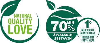 mačja hrana s 70% mesa