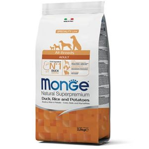 Monge Natural Superpremium Adult All Breeds z raco, rižem in krompirjem