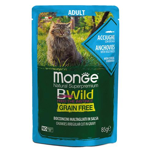 Monge BWild inčuni z zelenjavo za odrasle mačke