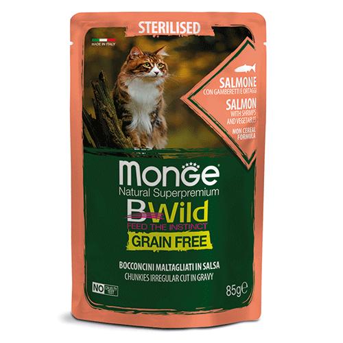 Monge BWild losos s kozicami in zelenjavo za odrasle mačke