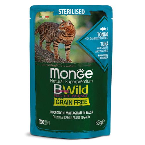 Monge BWild tuna s kozicami in zelenjavo za odrasle mačke