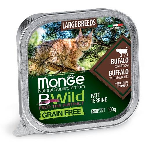Monge BWild Pate z bivolom in zelenjavo za velike mačke